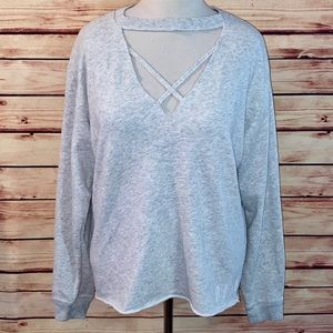 VS PINK Heathered Gray Strappy Choker Sweatshirt